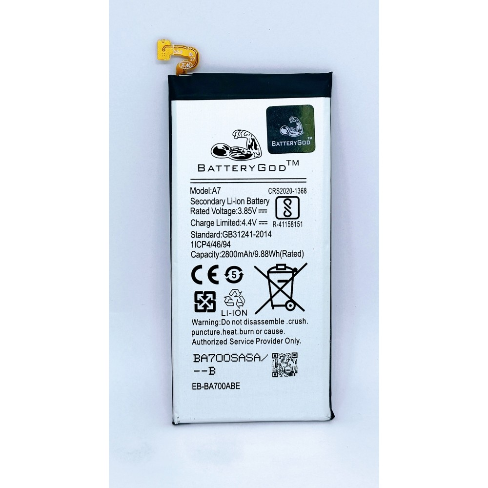 BATTERYGOD Full Capacity 2800 mAh Battery for Samsung Galaxy A7 (2015) / A7 15 / EB-BA700ABE