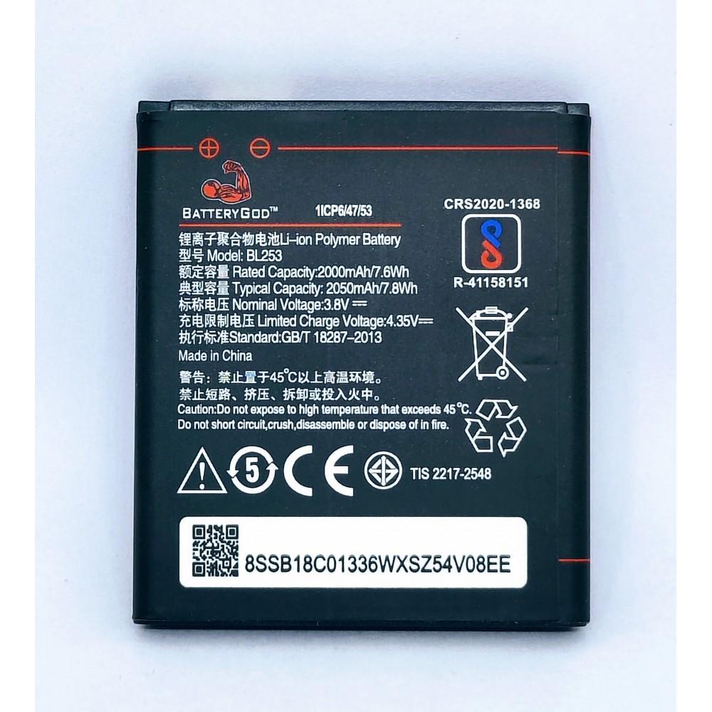 BATTERYGOD Full Capacity Proper 2050 mAh Battery For Lenovo A1000 / A2010 / A2580 / A2860 / Lenovo Vibe A / BL-253 / BL253
