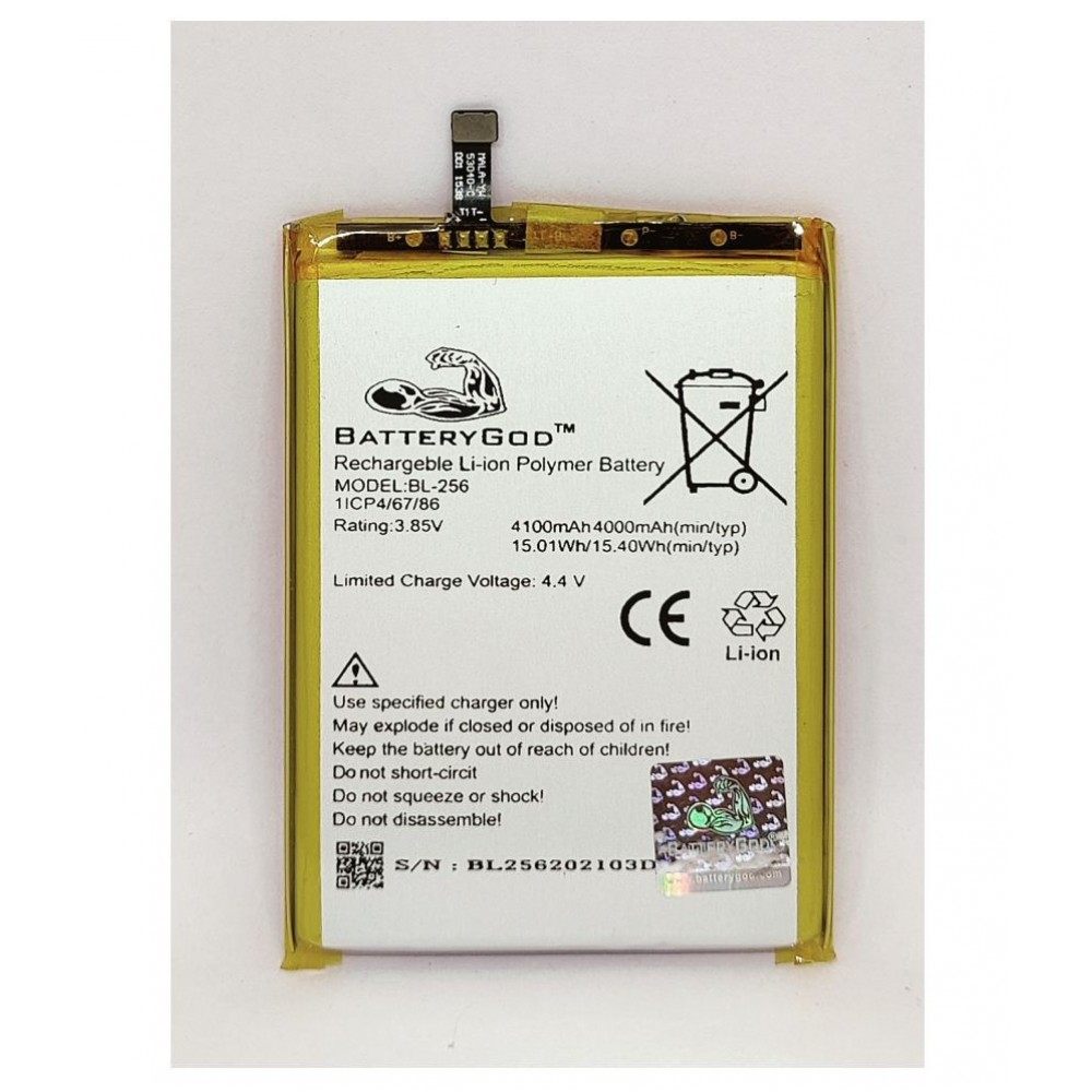 BATTERYGOD Full Capacity Proper 4100 mAh Battery For Lenovo Vibe K4 Note / X3 Lite / A7010a40 / A7010 / K51c78 / BL256 / BL-256
