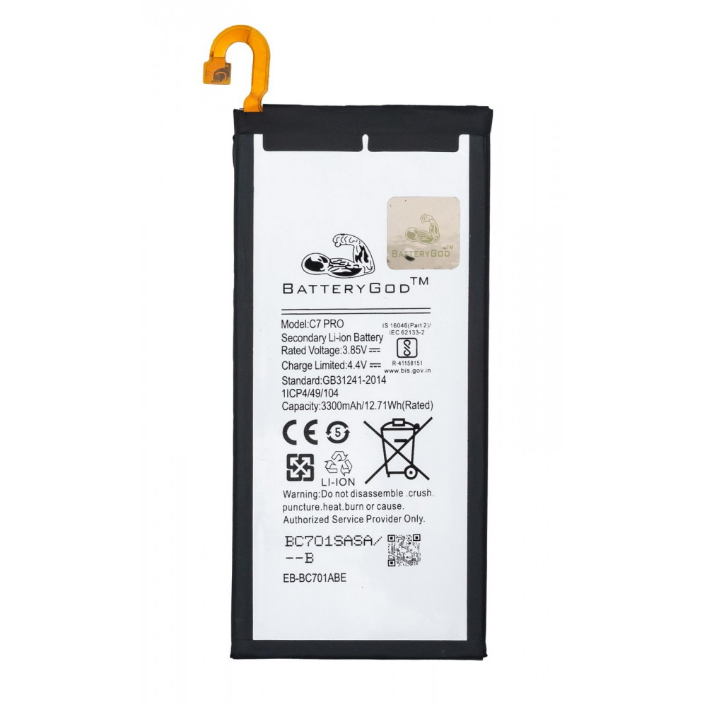 BATTERYGOD Full Capacity Battery 3300 mAh for Samsung Galaxy C7PRO / EB-BC701ABE