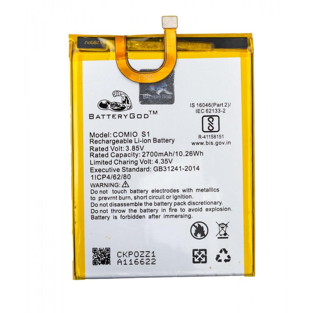 BATTERYGOD  Full Capacity Proper 2700 mAh Battery For COMIO S1